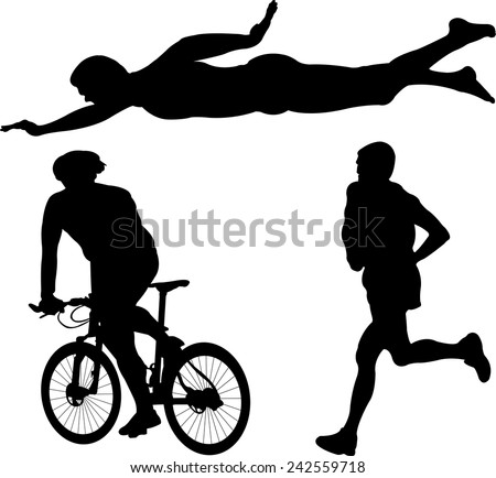 triathlon silhouette - vector - stock vector