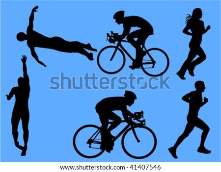 triathlon vector silhouettes - stock vector