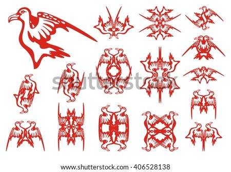 Tribal albatross set. Decorative patterns in the form of an albatross. Red on the white - stock vector