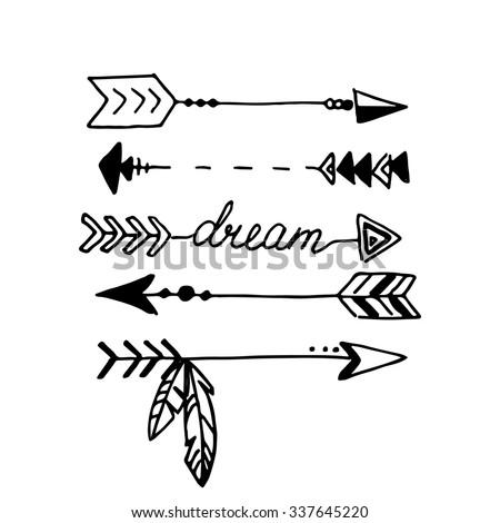tribal arrows isolated on white hand stock vector 337645220 rh shutterstock com Indian Arrow Vector Cute Arrow Vector