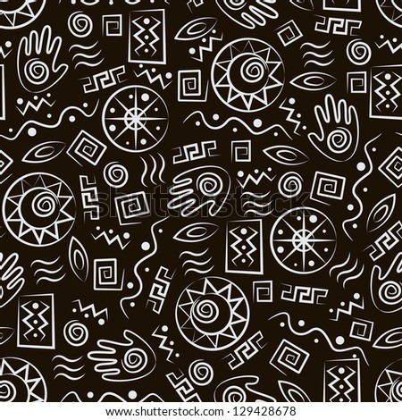 Tribal art . African style seamless pattern with  ancient  symbols of black background - stock vector
