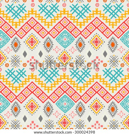 Tribal art boho seamless pattern. Ethnic geometric print. Aztec colorful repeating background texture. Fabric, cloth design, wallpaper, wrapping - stock vector