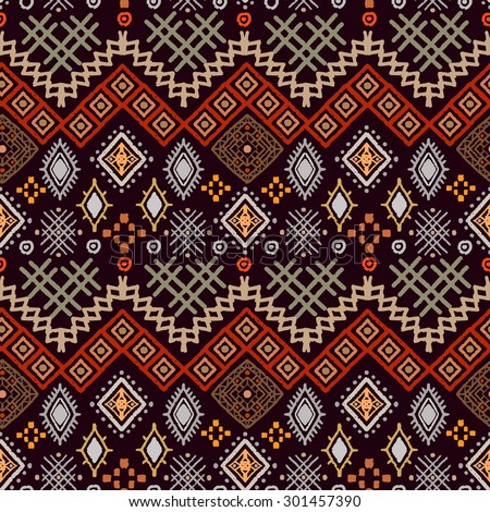 Tribal art boho seamless pattern. Ethnic geometric print. Colorful repeating background texture. Fabric, cloth design, wallpaper, wrapping - stock vector