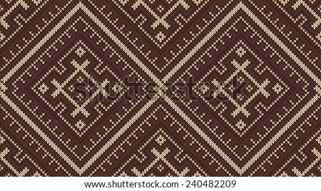 Tribal Aztec Pattern On Wool Knitted Stock Vector 240482209