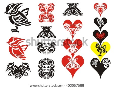 Tribal bird and hearts. Little striped bird in the form of a wasp, the collection of hearts and symbols formed from a bird - stock vector