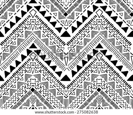 Tribal black and white print.  seamless background - stock vector