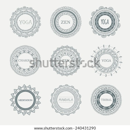 Tribal, Bohemian Mandala background with round ornaments, patterns and elements. Hand drawn vector illustration  - stock vector