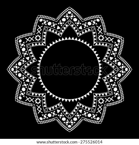 Tribal circle ornament on the black background. Vector - stock vector