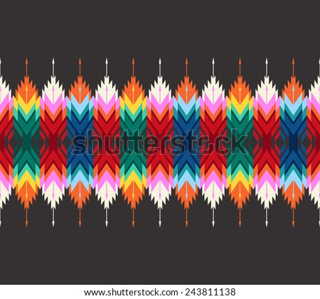 Tribal colorful geometric border. Seamless pattern with indian arrows. - stock vector