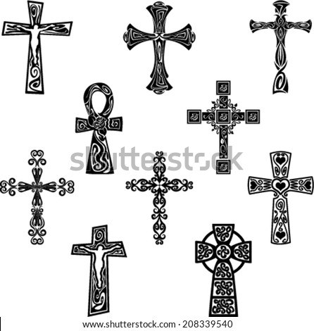 Tribal Crosses Set - stock vector