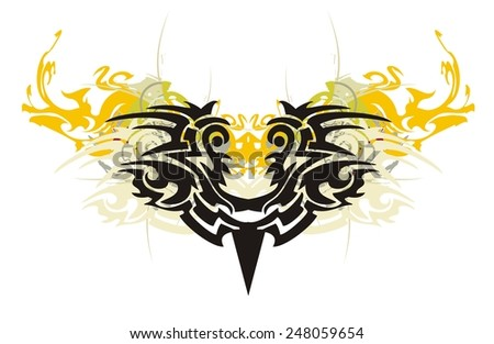 Tribal decorative bird eyes with splashes. Tribal freakish carnival bird mask with splashes in the fire form - stock vector