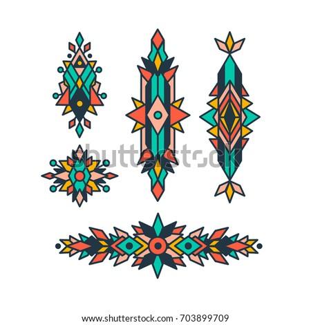 Tribal Decorative Elements Collection Geometric Symbols Stock Photo