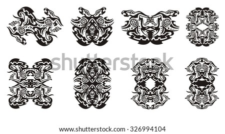 Tribal dragon frames and double dragon sings with circle - stock vector