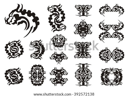 Tribal dragon head symbols. Big collection of aggressive dragon symbols with a horn. Black on white - stock vector