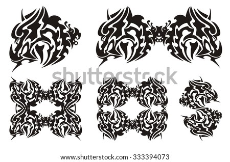 Tribal Dragon Head Butterfly Flaming Horned Stock Vector 333394073 ...