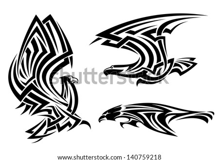 Tribal eagle, hawk and falcon set for tattoo or heraldry design or idea of logo. Jpeg (bitmap) version also available in gallery - stock vector
