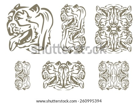 Tribal English bulldog head. Set of decorative symbols of the head of an English bulldog - stock vector