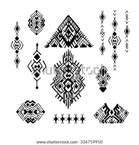 Tribal Ethnic collection, the elements of ethnic patterns of the Aztecs. Isolated on white background. - stock vector