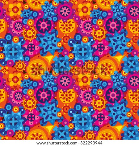 Tribal ethnic flat seamless pattern with paisley and mandala elements. Bright vector ornament.