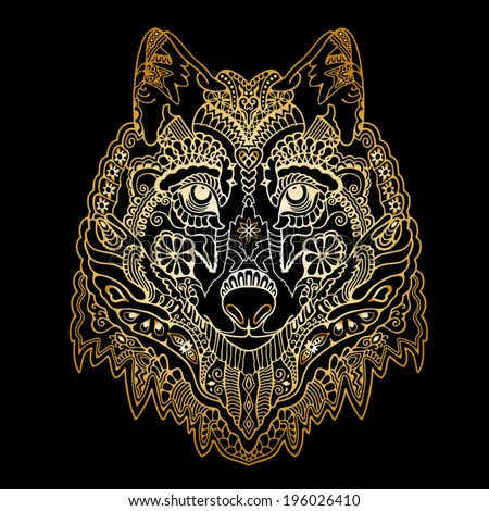 Tribal ethnic wolf totem, detailed ornamental pattern, hand drawn abstract artwork in graphic style, isolated gold on black background - stock vector