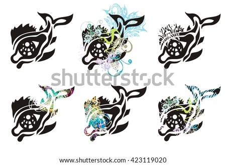 Tribal eye in the fish form. Set of fish splashes on a white background - stock vector