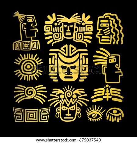 Tribal Face Drawings Set Golden Symbols Stock Vector 675037540
