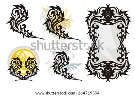 Tribal flaming bird splashes and bird frame. Phoenix with floral splashes, birds against the sun and a mirror from birds  - stock vector