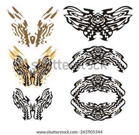 Tribal flaming dragon butterfly and roundish dragon frame. The butterflies inspiring fear formed by the dragon heads and a dragon frame in tribal style  - stock vector