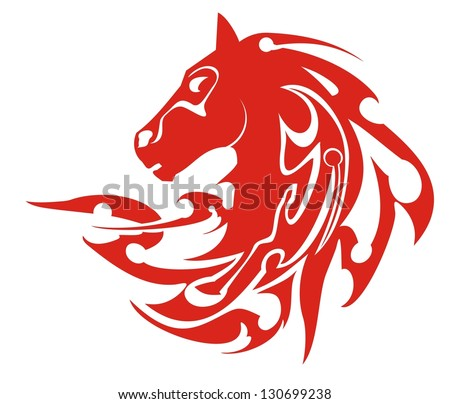 Tribal flaming horse head symbol, vector. Flaming symbol of a horse head  ready for labels, stickers and T-shirt designs. Ready for vinyl cutting and engraving - stock vector