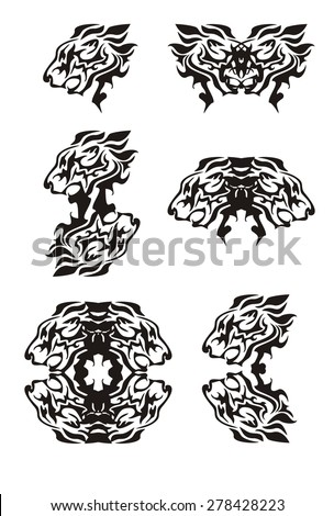 Tribal flaming lion head symbols. Tattoos of the growling lion's head. Black on the white