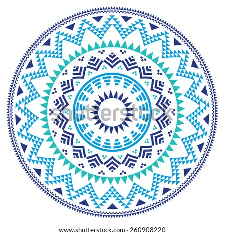Tribal folk Aztec geometric pattern in circle - blue, navy and turquoise - stock vector
