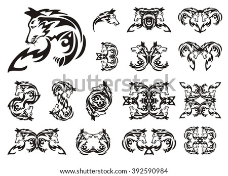 Tribal fox set. Profile of a fox and the twirled symbols from her. Black on the white - stock vector