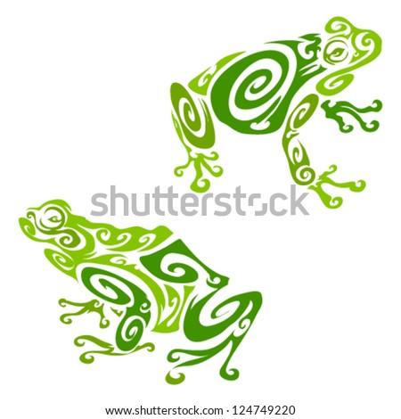 tribal frogs stock vector 124749220 shutterstock rh shutterstock com Black and White Tribal Frog Tribal Frog Art