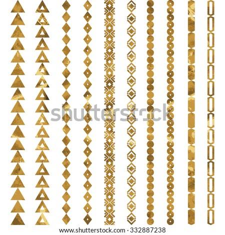 Tribal geometric gold pattern. Aztec and Navajo gold ornament. Tribal gold tattoo. Aztec flash tattoo.  Vector ink illustration - stock vector