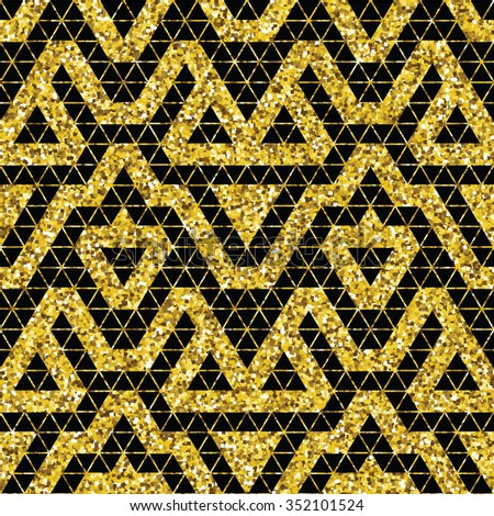 Tribal glitter golden seamless pattern. Trendy modern vector illustration.
