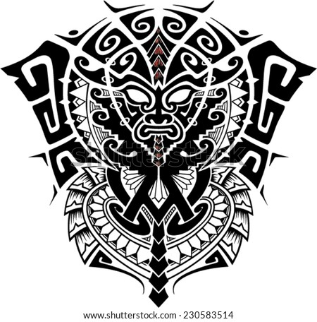 Tribal God Mask with Alpha and Omega symbol vector illustration - stock vector