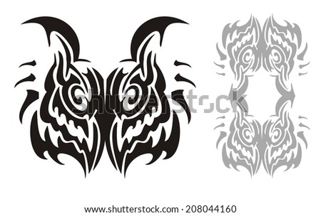 Tribal horned owl head and owl frame - stock vector