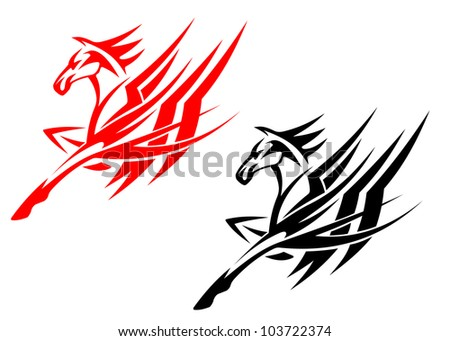 Tribal horse in black and red version for tattoo design, such logo. Jpeg version also available in gallery - stock vector