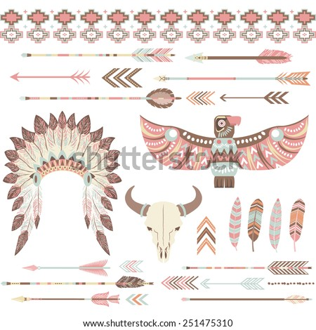 Tribal /Indian Clip Art Collections - stock vector