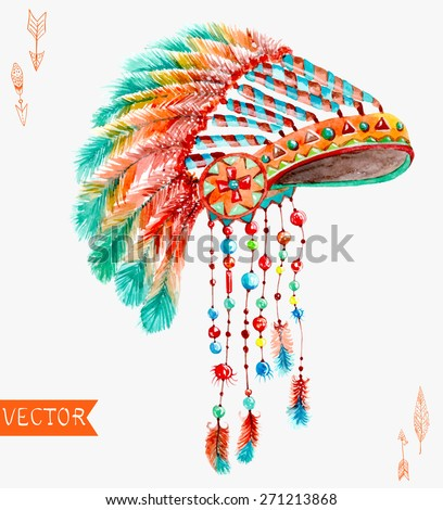 Tribal indian hat, watercolor background for beautiful design, Vector - stock vector
