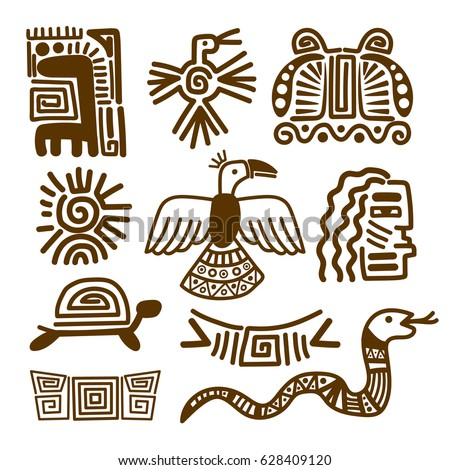 Tribal Indian Patterns Ancient Mexican Symbols Stock Vector