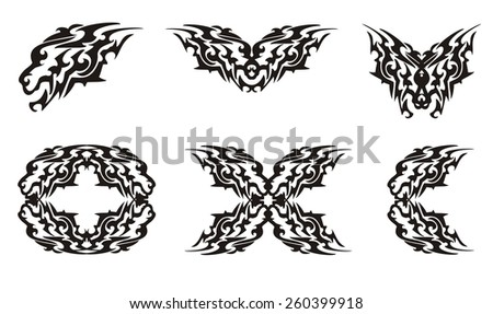 Tribal lion head and lions elements - stock vector