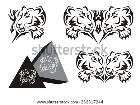 Tribal lying lioness symbol with a paw and a lioness pyramid - stock vector