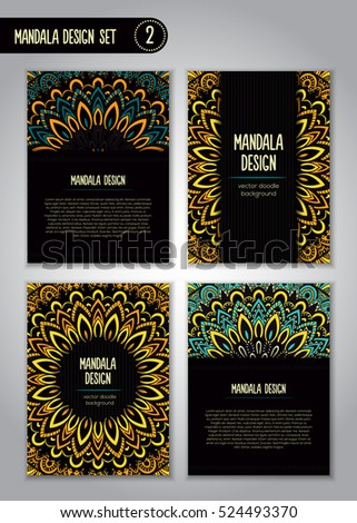 Tribal mandala design set. Vintage decorative elements. Ornamental business cards. Oriental, vector illustration. nature motifs. Doodle ornaments.
