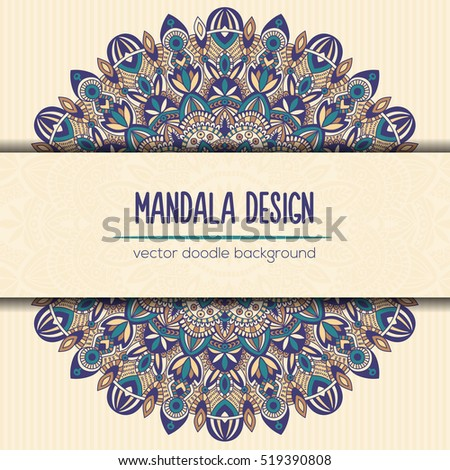 Tribal mandala design. Vintage decorative elements. Ornamental business card. Oriental, vector illustration. nature motifs. Doodle ornaments.