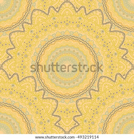 Tribal mandala vector seamless pattern. Vintage design for printing. Hand drawn background. Islam, Arabic, Indian, ottoman oriental ornament.
