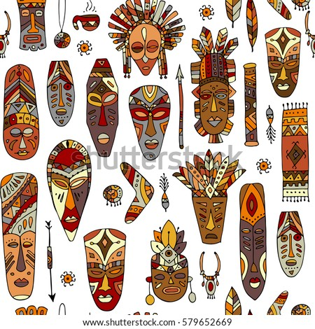 tribal mask ethnic seamless pattern sketch stock vector royalty