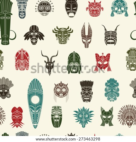 Tribal mask seamless pattern design in colors - stock vector