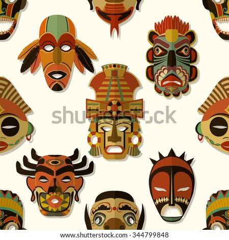 Tribal Mask Texture, Seamless pattern design - stock vector