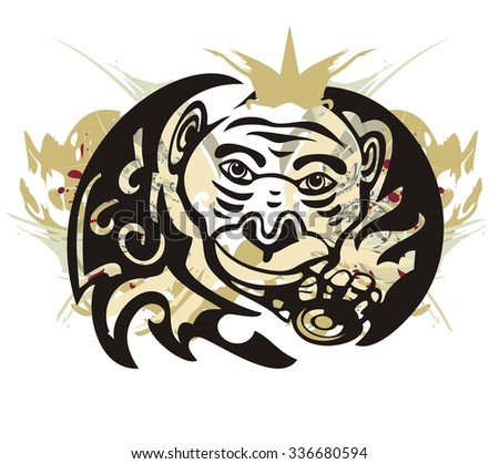 Tribal monkey splashes with coin. Grunge monkey with a crown and a gold coin isolated on a white background  - stock vector